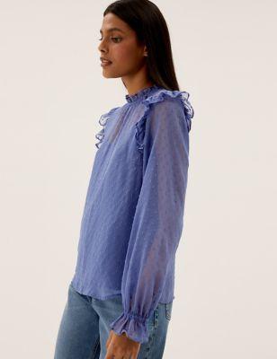 High Neck Frill Detail Long Sleeve Blouse