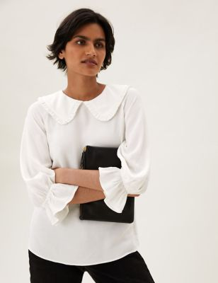 Collared Frill Detail Oversized Top