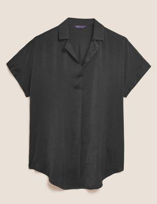 V-Neck Longline Short Sleeve Popover Blouse