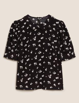 Floral Peter Pan Collar Short Sleeve Top