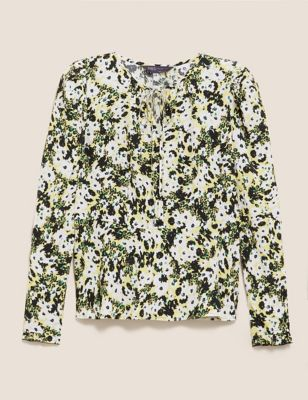 Floral Tie Neck Long Sleeve Top