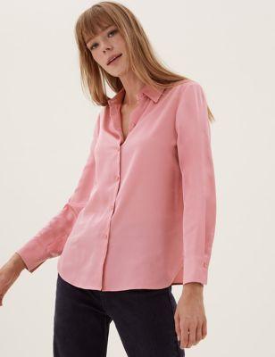Satin Collared Long Sleeve Shirt