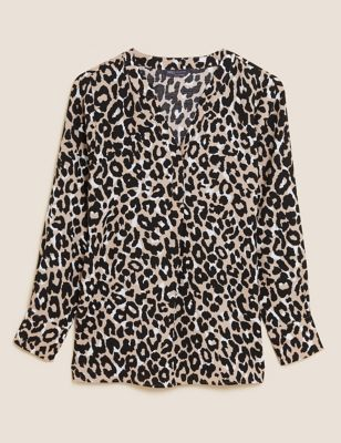 Animal Print Long Sleeve Popover Blouse