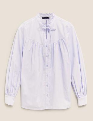 Pure Cotton Tie Neck Frill Detail Blouse