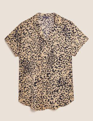 Animal Print Short Sleeve Popover Blouse