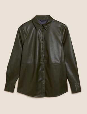 Faux Leather Oversized Long Sleeve Shirt