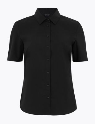 Cotton Rich Fitted Short Sleeve Shirt