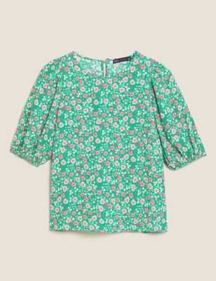 Floral Round Neck 3/4 Sleeve Blouse