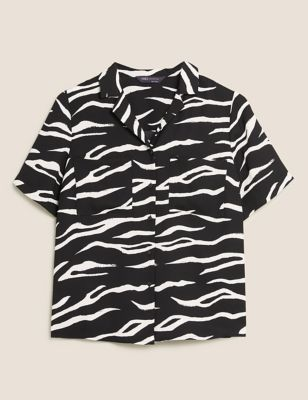Animal Print Collared Short Sleeve Shirt