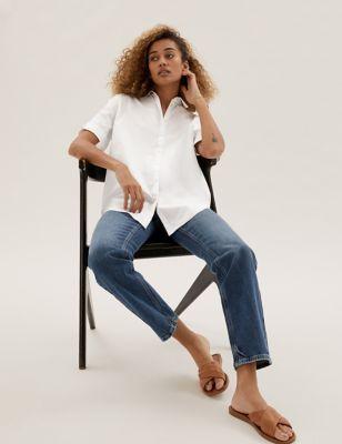 Pure Cotton Oversized Short Sleeve Shirt