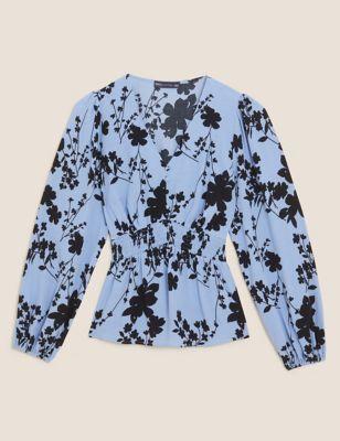 Floral V-Neck Regular Fit Shirred Top