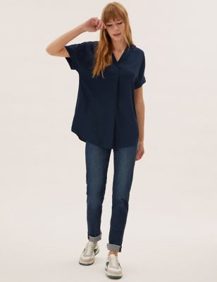 Collared Short Sleeve Popover Blouse
