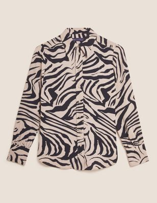 Animal Print Collared Long Sleeve Blouse
