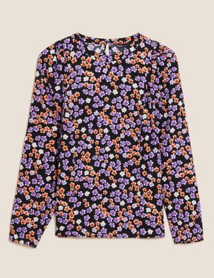 Floral Print Round Neck Puff Sleeve Top
