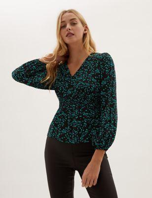 Floral V-Neck Shirred Long Sleeve Top