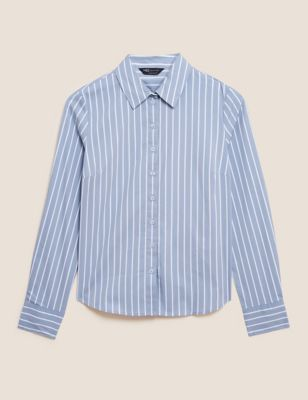 Cotton Striped Collared Long Sleeve Shirt