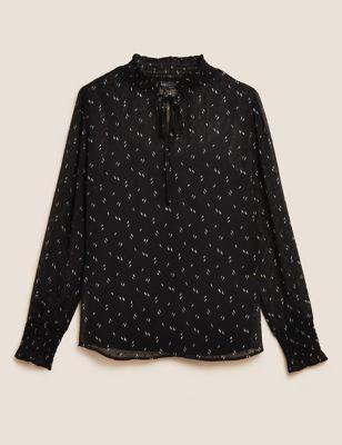 Printed High Neck Long Sleeve Blouse