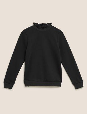 Cotton Crew Neck Frill Detail Sweatshirt