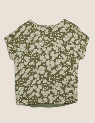 Floral Crew Neck Relaxed Short Sleeve Top