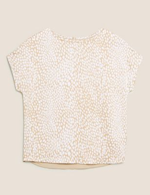 Satin Printed Crew Neck Regular Fit T-Shirt
