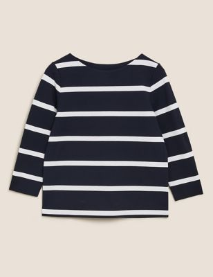 Jersey Striped Crew Neck 3/4 Sleeve Top