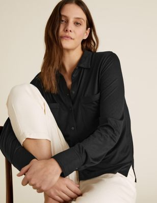 Jersey Collared Regular Fit Long Sleeve Shirt