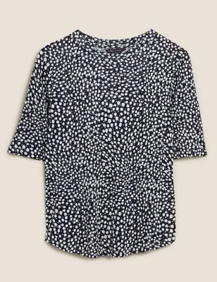 Polka Dot Fitted Short Sleeve Top
