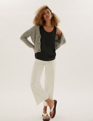 Jersey Crew Neck Relaxed Sleeveless Top