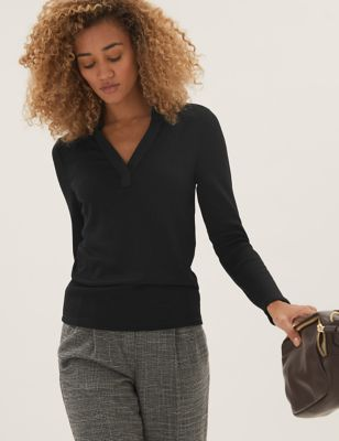 Ribbed Collared Long Sleeve Top