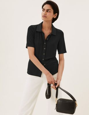 Jersey Ribbed Collared Short Sleeve Shirt