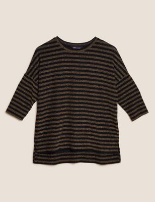 Sparkly Striped Regular Fit 3/4 Sleeve Top