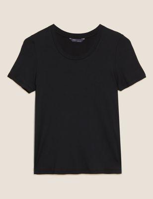 Modal Scoop Neck Short Sleeve Top