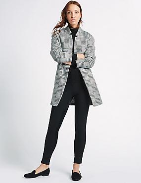 Textured Open Front Coat, BLACK MIX, catlanding