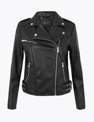 PETITE Faux Leather Biker Jacket