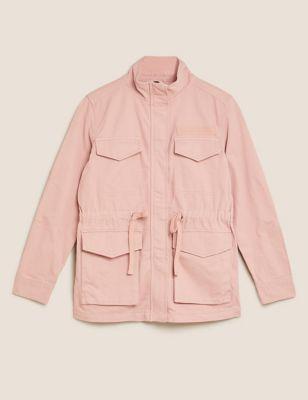 Cotton Rich High Neck Utility Jacket