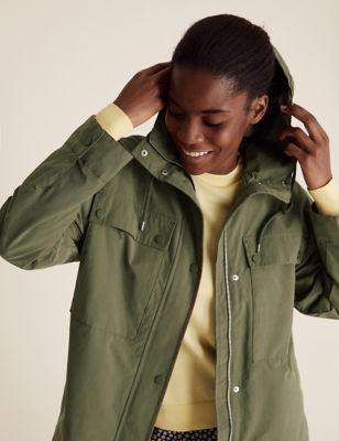 Cotton High Neck Utility Jacket