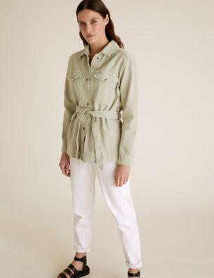 Denim Belted Utility Jacket