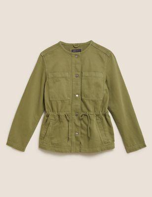 Denim Waisted Collarless Jacket
