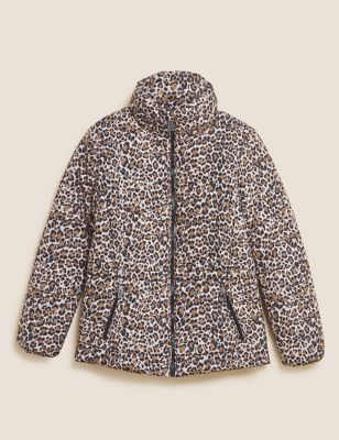 Recycled Thermowarmth™ Leopard Print Puffer Coat