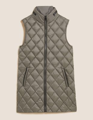 Feather & Down Quilted Hooded Puffer Gilet
