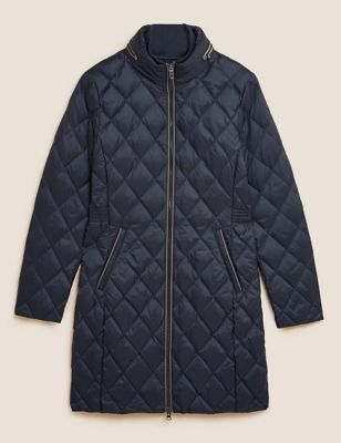 Feather & Down Quilted Longline Puffer Jacket