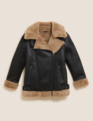 Faux Shearling Aviator Jacket