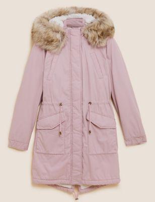 Cotton Waisted Borg Lined Parka Coat