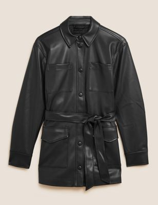 Faux Leather Belted Shacket