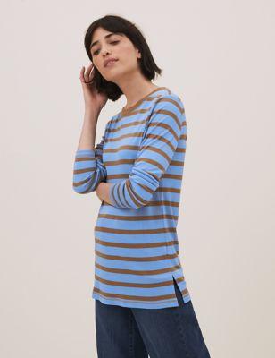 Pure Tencel™ Striped Long Sleeve Top