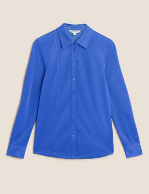 Cotton Collared Long Sleeve Shirt