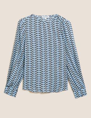 Geometric Blouson Sleeve Shirt