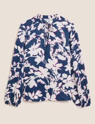 Floral Tie Neck Popover Blouse