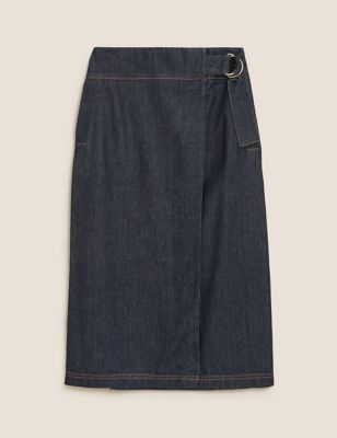Silk Denim Buckle Midi A-Line Skirt