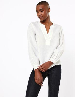 M/&S Silky COLLARED Long Sleeve BLOUSE SHIRT ~ Asst Sizes ~ IVORY /& BLACK Print
